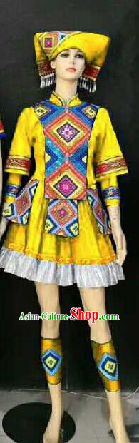 Chinese Traditional Zhuang Nationality Yellow Ethnic Costumes Folk Dance Dress for Women
