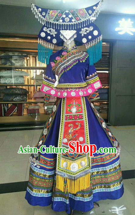Chinese Traditional Zhuang Nationality Ethnic Costumes Folk Dance Royalblue Dress for Women