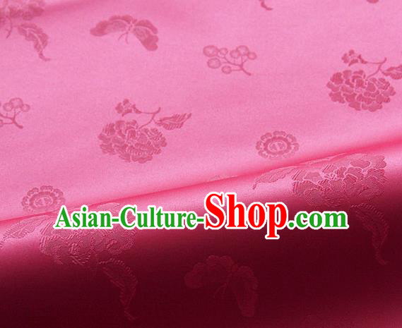 Asian Korean Traditional Rosy Brocade Fabric Classical Butterfly Peony Pattern Silk Fabric Hanbok Silk Material