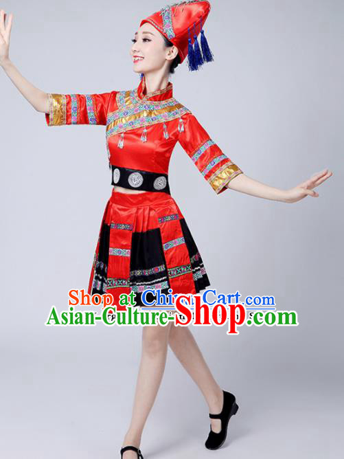 Chinese Ethnic Minority Embroidered Red Dress Traditional Zhuang Nationality Folk Dance Costumes for Women