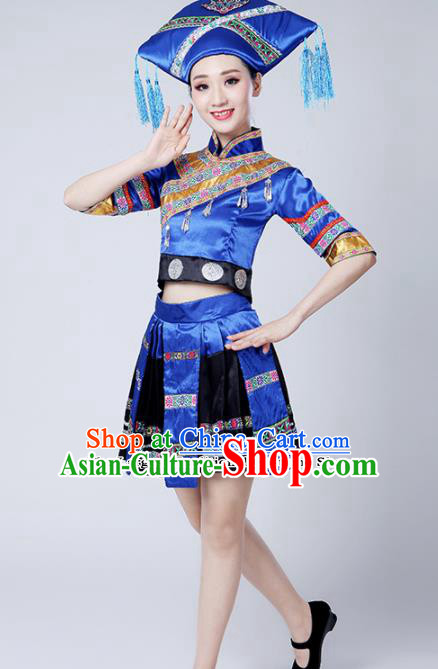 Chinese Ethnic Minority Embroidered Blue Dress Traditional Zhuang Nationality Folk Dance Costumes for Women
