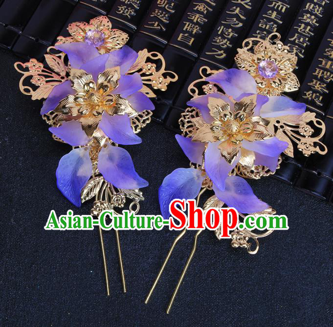 Chinese Traditional Hair Accessories Hair Clip Ancient Princess Purple Flowers Hairpins for Women
