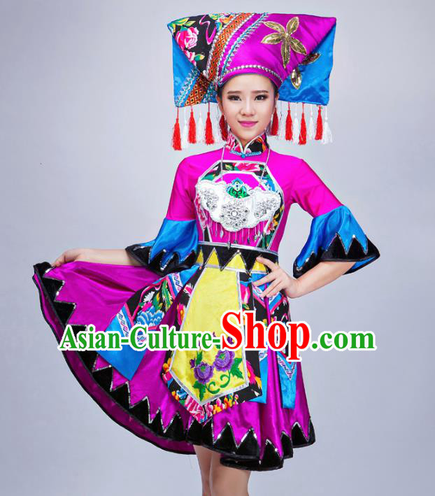 Traditional Chinese Miao Nationality Dance Costume, Chinese Zhuang Minority Nationality Embroidery Clothing for Women