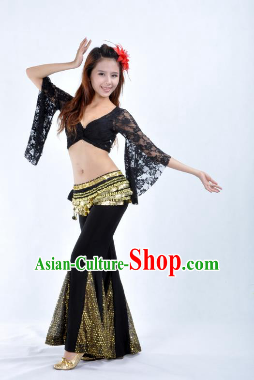 Indian Belly Dance Black Lace Costume India Raks Sharki Suits Oriental Dance Clothing for Women