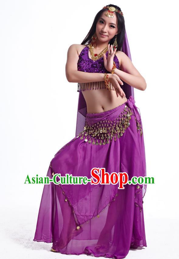 bb6b6b21797c Indian Belly Dance Costume Oriental Dance Purple Dress, India Raks Sharki  Bollywood Dance Clothing for Women