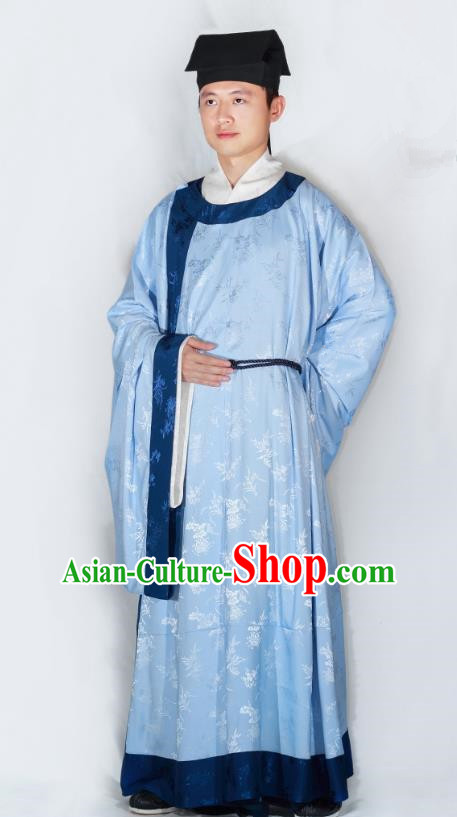 3897a280df China Song Dynasty Scholar Hanfu Clothing Ancient Minister Blue Robe for Men