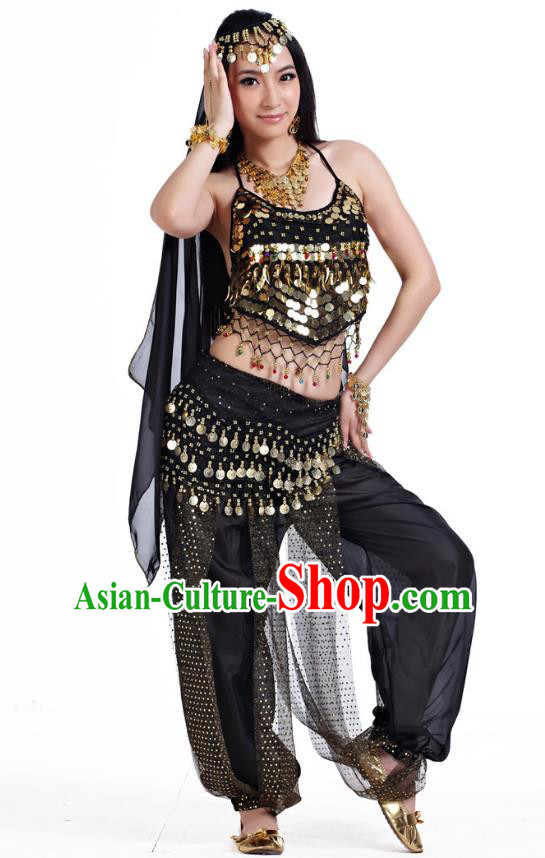 Indian Belly Dance Costume Bollywood Oriental Dance Black Clothing for Women