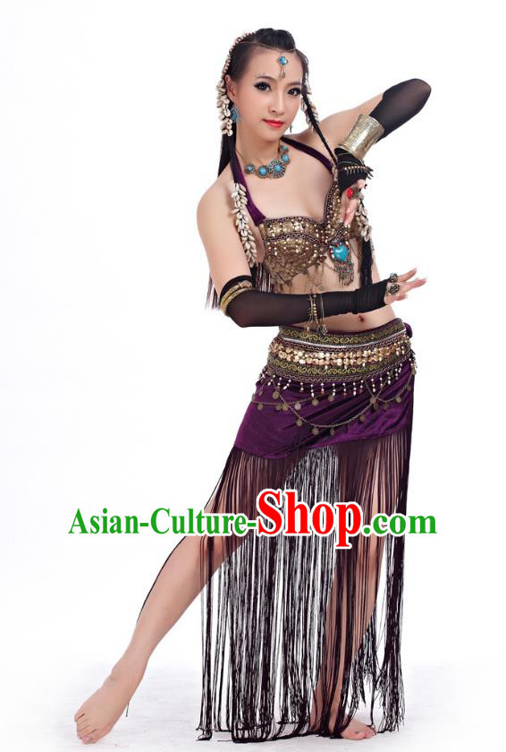 d6d75b730294 Asian Indian Belly Dance Primitive Tribe Dance Purple Costume India  Bollywood Oriental Dance Clothing for Women