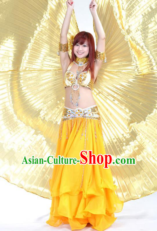Indian Bollywood Belly Dance Yellow Dress Clothing Asian India Oriental Dance Costume for Women