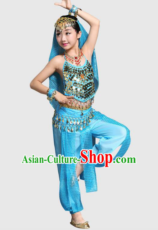 Traditional Indian National Belly Dance Blue Clothing India Oriental Dance Costume for Kids