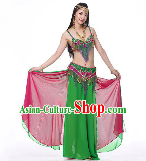 Indian National Belly Dance Clothing India Oriental Dance Sexy Green Dress for Women