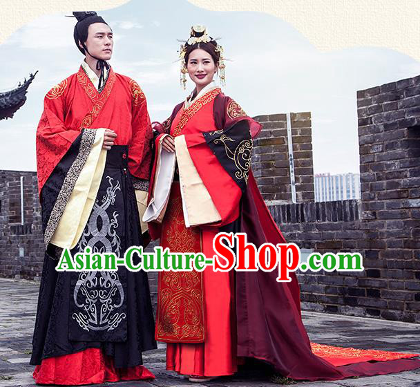 f699a8588 Chinese Ancient Han Dynasty Emperor and Empress Embroidered Wedding Costume Complete  Set