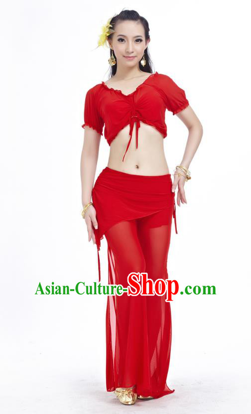 6300def4d Indian Traditional Belly Dance Red Costume India Oriental Dance Clothing  for Women