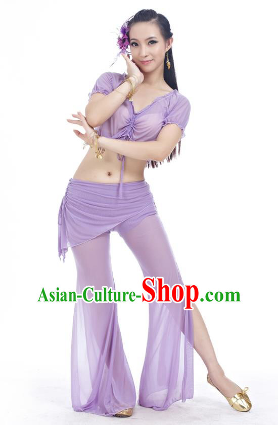 Indian Traditional Belly Dance Lilac Costume India Oriental Dance Clothing for Women