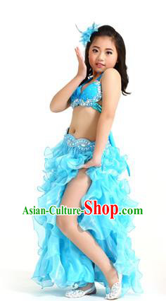 b979228daa3c Traditional Indian Belly Dance Blue Dress Asian India Oriental Dance Costume  for Kids