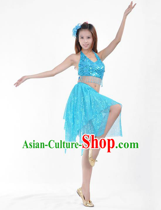 54567858c160 Traditional Indian Belly Dance Blue Sequin Clothing India Oriental Dance  Costume for Women