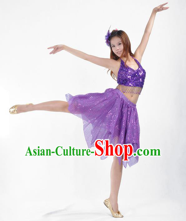 Traditional Indian Belly Dance Purple Sequin Clothing India Oriental Dance Costume for Women