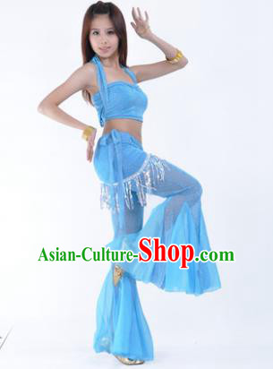 b5f538f9f1d5 Traditional Indian Belly Dance Training Clothing India Oriental Dance Blue  Outfits for Women
