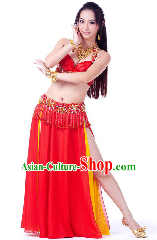 Traditional Indian Belly Dance Red and Yellow Dress India Oriental Dance Clothing for Women