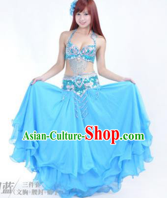 7a986084bb10 Traditional Indian Bollywood Belly Dance Blue Dress India Oriental Dance  Costume for Women