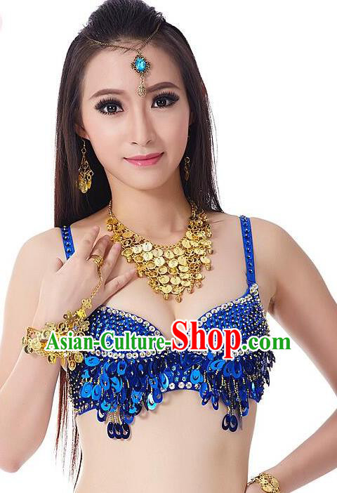 379bca24f56d Indian Bollywood Belly Dance Royalblue Sequin Brassiere Asian India  Oriental Dance Costume for Women