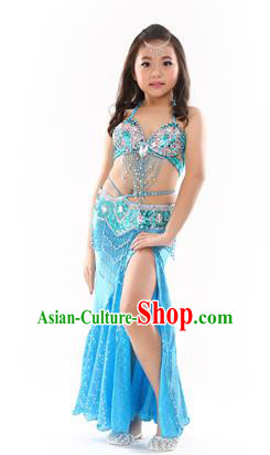 e8cb70d6a477 Traditional Indian Children Performance Oriental Dance Blue Dress Belly  Dance Costume for Kids