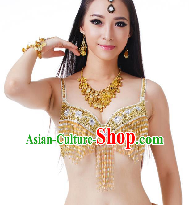 7d14a6a14ed9 Traditional Belly Dance Golden Tassel Brassiere Upper Outer Garment Indian  Oriental Dance Costume for Women