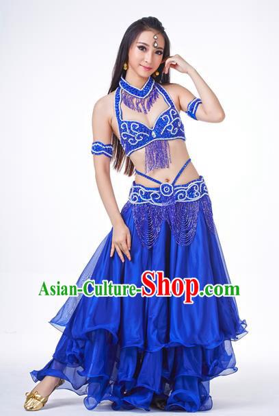 36b812bc1dda Traditional Oriental Dance Costume Indian Belly Dance Royalblue Tassel Dress  for Women