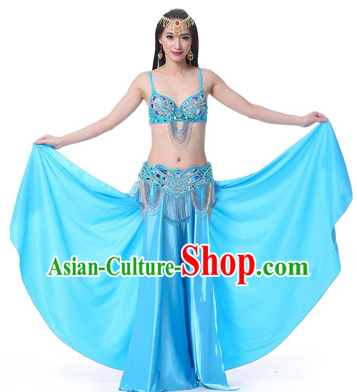 1836f50accd5 Asian Indian Belly Dance Costume Stage Performance Oriental Dance Blue Dress  for Women