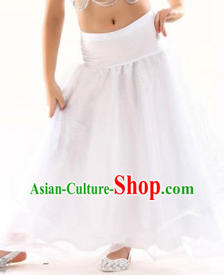 Indian Traditional Belly Dance Performance Costume White Skirt Classical Oriental Dance Clothing for Kids
