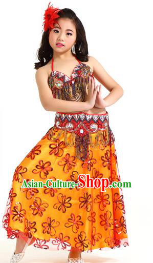 Asian Indian Children Belly Dance Red Dress Stage Performance Oriental Dance Clothing for Kids