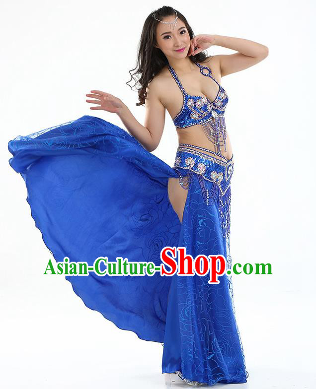 Top Grade Bollywood Belly Dance Royalblue Dress Indian Raks Sharki Oriental Dance Clothing for Women