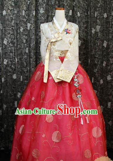 Korean Traditional Hanbok White Blouse and Red Dress Ancient Fashion Apparel Costumes for Women