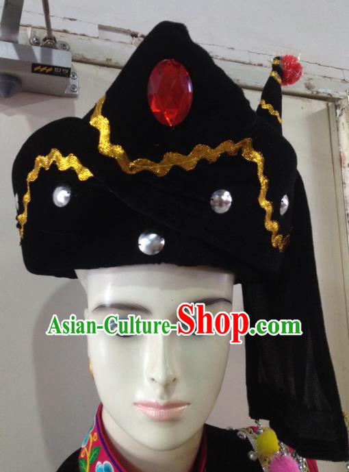 Traditional Chinese Zhuang Nationality Hair Accessories Hats Yi Ethnic Minority Headwear for Men