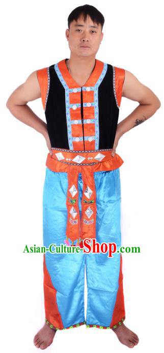 Traditional Chinese Zhuang Nationality Dance Costume China Ethnic Minority Folk Dance Clothing for Men