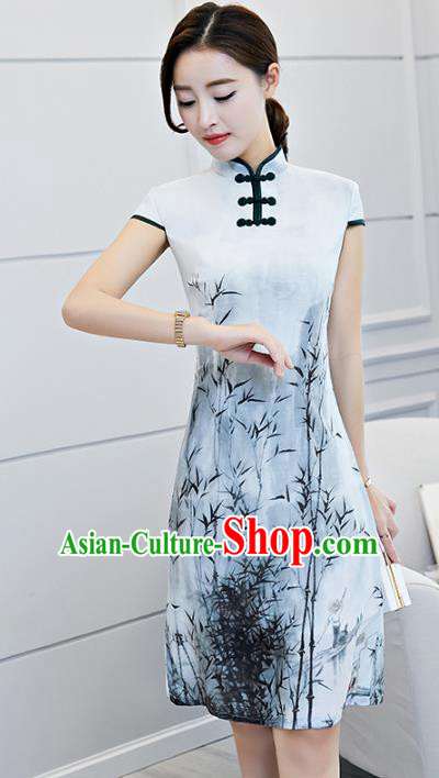 Chinese Traditional Printing Bamboo Mandarin Qipao Dress National Costume Tang Suit Cheongsam for Women