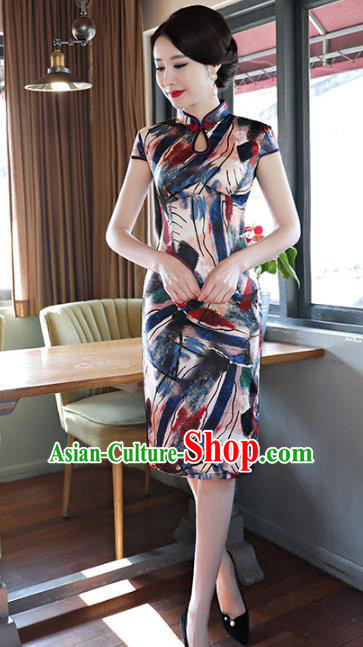 Chinese Traditional Printing Short Mandarin Qipao Dress National Costume Tang Suit Cheongsam for Women