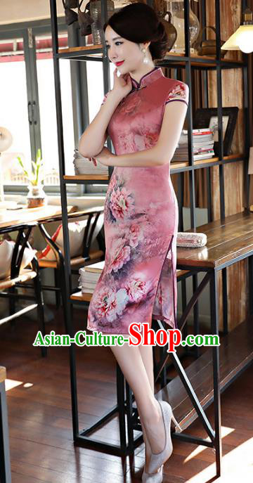 Chinese Traditional Mandarin Qipao Dress National Costume Tang Suit Silk Cheongsam for Women