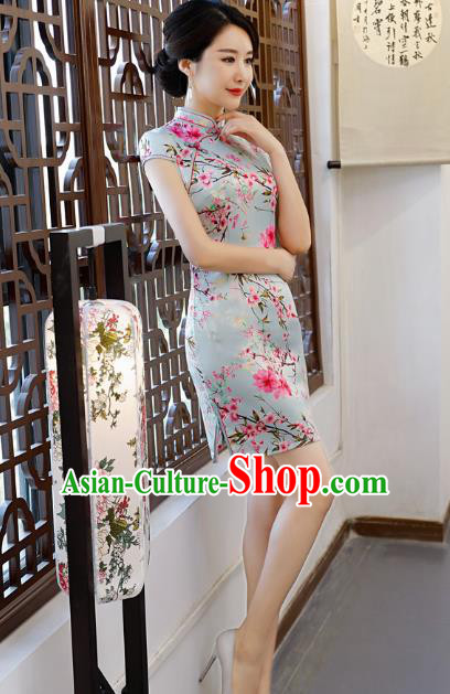 Chinese Traditional Printing Peach Blossom Qipao Dress National Costume Tang Suit Blue Mandarin Cheongsam for Women