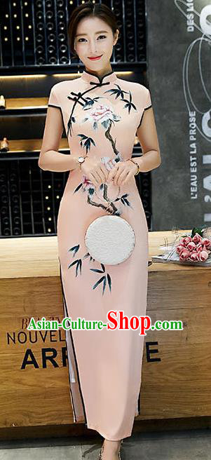 Chinese Traditional Tang Suit Qipao Dress National Costume Printing Pink Mandarin Cheongsam for Women