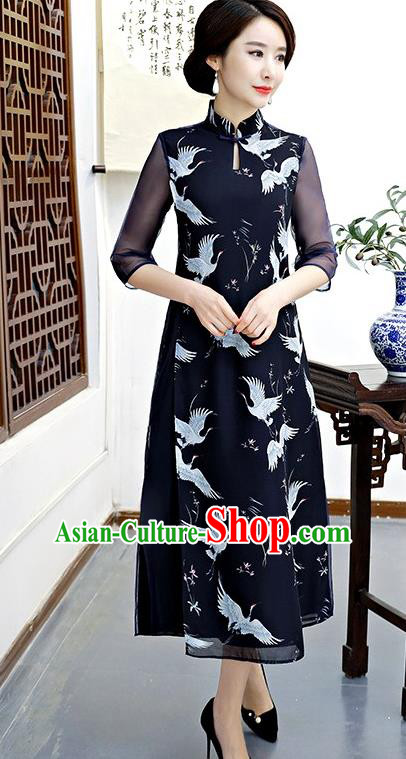 Chinese Traditional Tang Suit Qipao Dress National Costume Printing Cranes Navy Mandarin Cheongsam for Women
