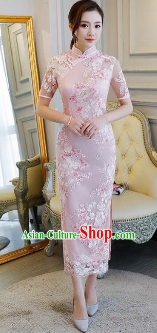 Chinese Traditional Tang Suit Embroidered Qipao Dress National Costume Pink Mandarin Cheongsam for Women