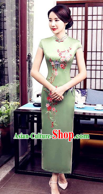 Chinese Traditional Tang Suit Qipao Dress National Costume Printing Birds Green Mandarin Cheongsam for Women