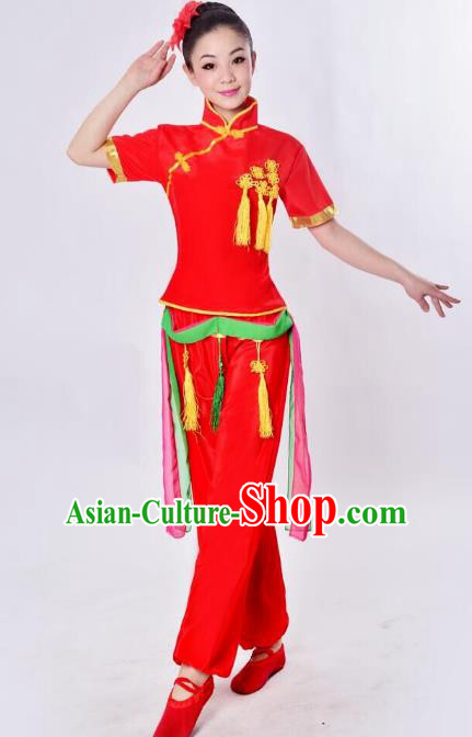 537b4b4c7 Chinese Classical Umbrella Dance Pink Costume Traditional Folk Dance ...