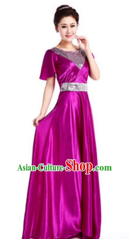 Chinese Classic Stage Performance Chorus Singing Group Costume, Chorus Competition Purple Dress for Women