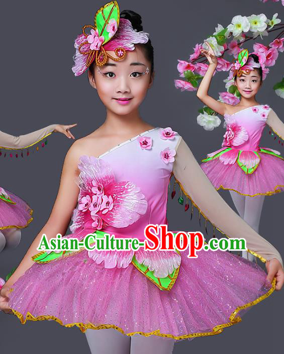 Top Grade Stage Performance Ballet Dance Costume, Professional Modern Dance Pink Dress for Kids