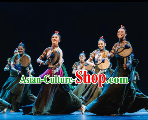Traditional Chinese Folk Dance Drum Dance Costume, China Classical Dance Clothing for Women
