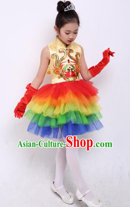 Chinese Traditional Folk Dance Costumes Chorus Dance Red Dress Children Classical Dance Clothing for Kids