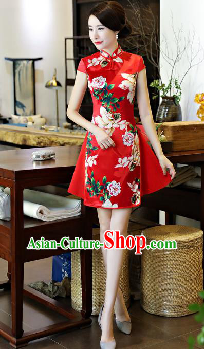 Chinese National Costume Tang Suit Retro Qipao Dress Traditional Printing Red Silk Cheongsam for Women