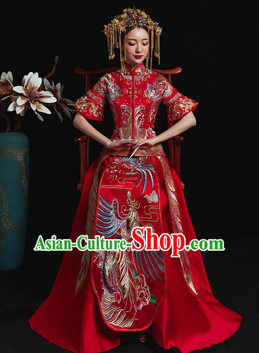 b21ac829ae Chinese Traditional Wedding Costume Ancient Bride Xiuhe Suit Embroidered  Red Full Dress for Women